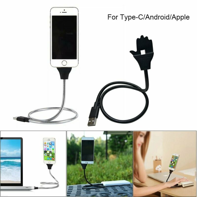 Charger Holder Lazy Bracket Stand UP USB Charging Stand Up Cable Flexible Phone Holder Phone Charger Holder For IPhone Android