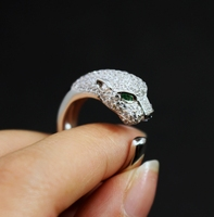 Fashion S925 Sterling Silver Party Jewelry For Women Silver Color Pattern Panther Wedding Jewelry Leopard Rings Adjustable