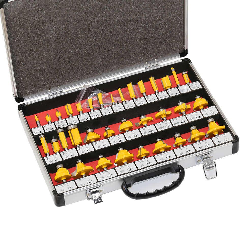 """35 cái 1/4 """"(6.35 mét) shank Tungsten Carbide Router Bit Set Gỗ Chế Biến Gỗ Cutter Cắt Dao Hình Thành Phay w/hộp Gỗ Trường Hợp"""
