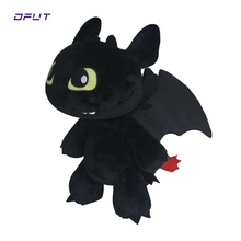 купить How To Train Your Dragon Night Fury Plush Toy 2 Plush Toy Toothless Dragon Stuffed Animal Dolls Movie Black for kids gift doll дешево