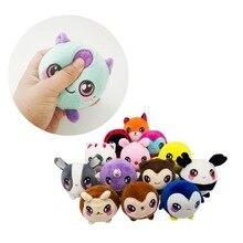 14/9pcs 7CM Squeezamals Stuffed Animals Plush toy Squishy Fox Bear leopard Doll Monkey Cat Toy , Squishises Unicorn Toy