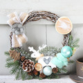 Cilected 30CM Christmas Handmade Rattan Wreath Artificial Plant Festival Door Hanging Wall Decoration Simulation Rattan Circle