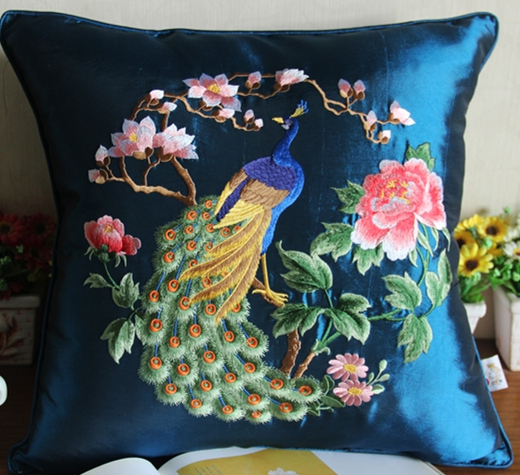 Animal Embroidery Peacock Cushion Cover Christmas Pillowcase Cushions Home Decor Sofa Chair Cushion Silk Satin Pillow Case