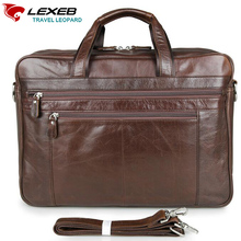 LEXEB Brand Vintage Men's Briefcase Solid Genuine Leather Business Travel Bags 43 CM High Quality Bag 17.3 Inch Laptop Coffee