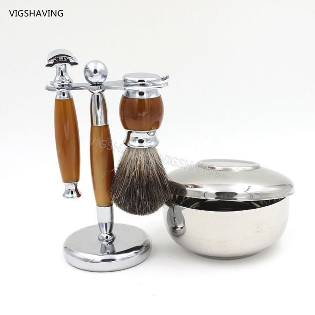 Black Pure Badger Hair and Safety razor Luxury Shaving Kits with Shaving Bowl