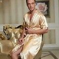 2016 das mulheres dos homens de inverno mais longo de cetim vestido de roupão de banho sexy quimono de seda roupão de banho dos homens homme peignoir roupão para homens vestes