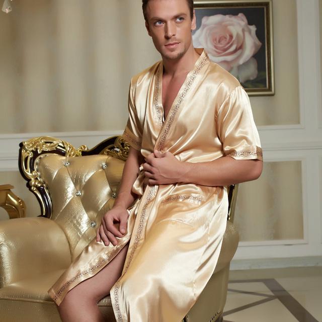 2016 invierno para mujer para hombre plus larga de satén albornoz sexy kimono albornoz hombres homme bata bata de seda para los hombres túnicas