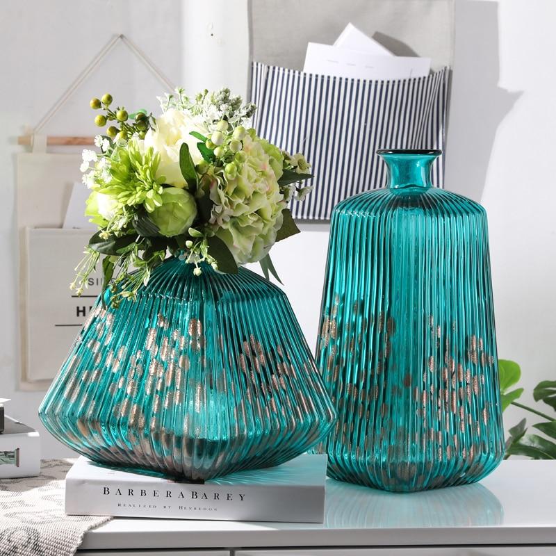 Vase en verre dépoli progressivement cylindrique moderne jante dorée Vase Transparent Tube droit conteneurs hydroponiques décor à la maison