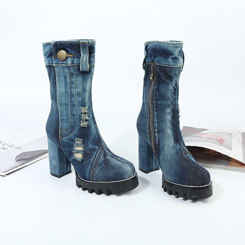 Kadın Platformu Sonbahar Çizmeler Vintage Mavi Denim Yüksek Topuklu Bottine Bayanlar Ayakkabı Toka Dekor Punk Kovboy Çizmeleri Ayakkabı Kadın