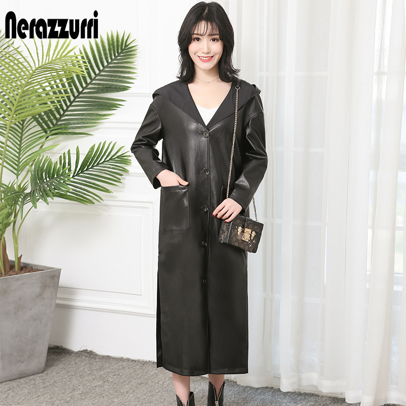 Nerazzurri Long faux   leather   coat women hooded maxi long sleeve black spring autumn slit big size Pu   leather   overcoat 5xl 6xl