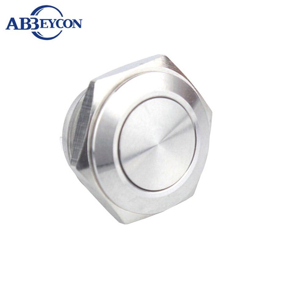 16mm Short Momentary Self locking Waterproof 2 Pin Terminal Push Button Switch Metal Shell Brass Switch