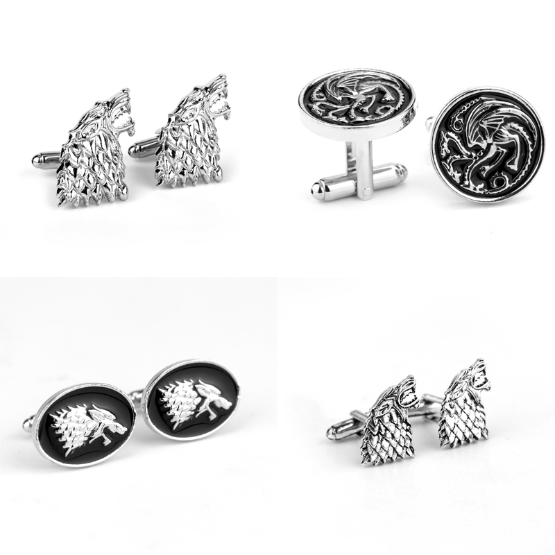 Men Fashion Jewelry Game Of Thrones Dragon <font><b>Wolf</b></font> Head Metal <font><b>Cufflinks</b></font> Generous Men Cuff Bottons Tie Clip Accessories Gift image