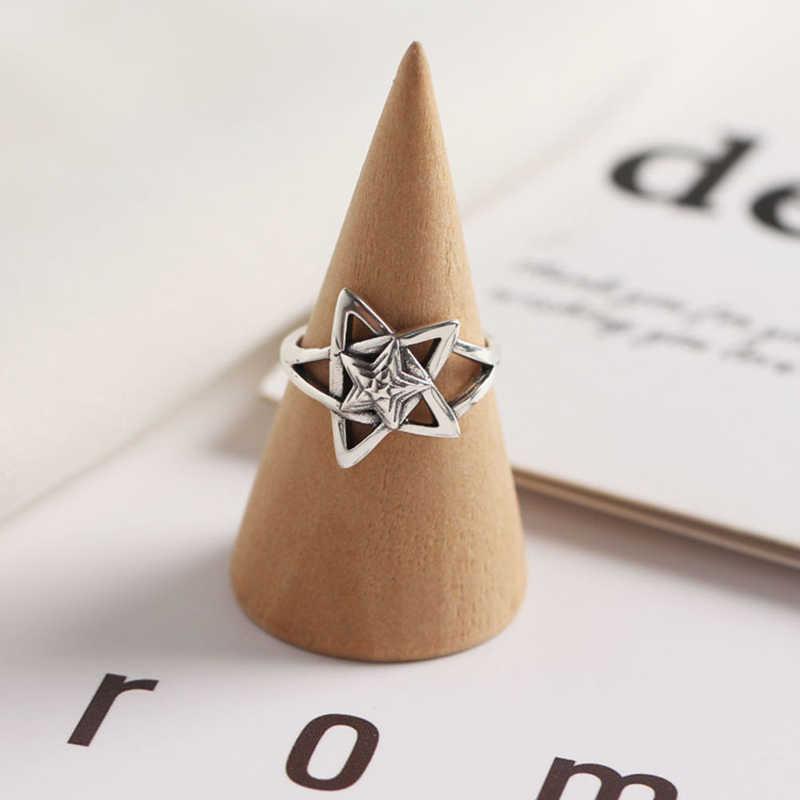 SHANICE Geometrica Star Afflusso di Personalità Anello Della Corea S925 Sterling Argento Anello Aperto Anello Dito Indice Retrò Pentagramma