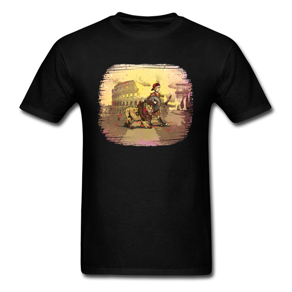 Emeritus Lion 2018 Men T-shirt Rome Colosseum Warrior Vintage Drawing Black Tops Cotton Tee Shirt Plus Size