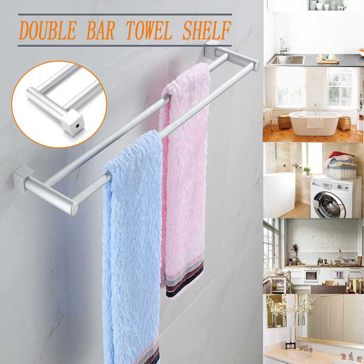 Xueqin Bathroom Double Towel Rail Rack 2 Bar Space Aluminum Hanger Wall Mounted Towel Shelf Bath Rails Bars Holder 58x12cm capputine italian fashion design woman shoes and bag set european rhinestone high heels shoes and bag set for wedding dress g40