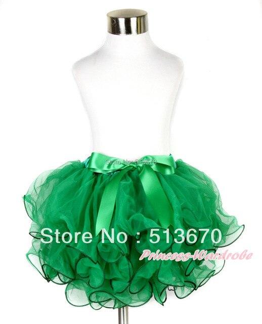 Рождество келли зеленый лепесток полный юбка с келли зеленый с бантом MAB208