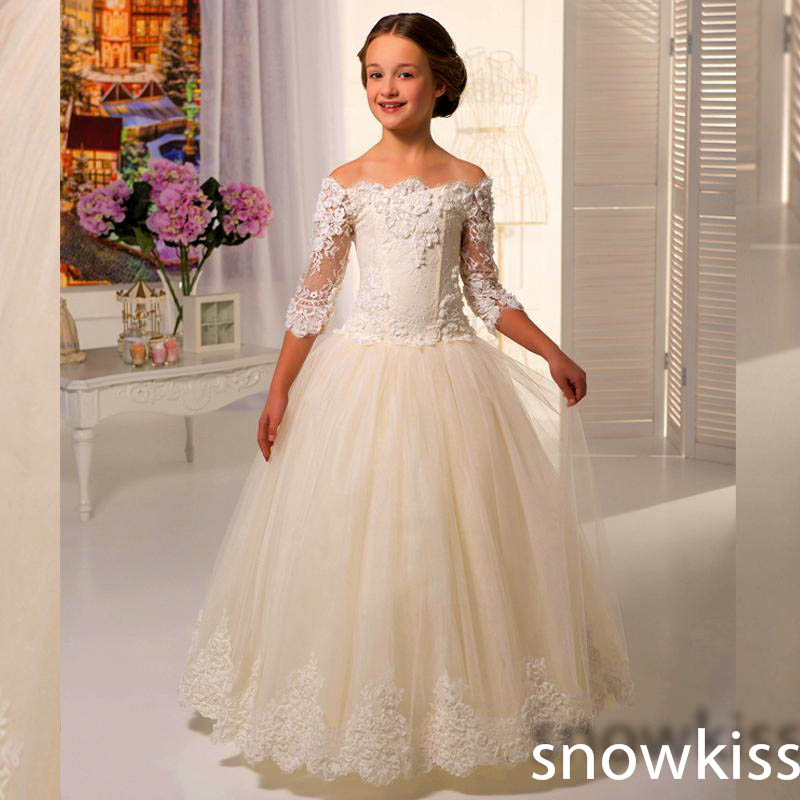 Elegant Off the shoulder 3/4 sleeves Lace Appliques Ball Gowns First Communion Dress Flower Girl dresses Kids frock designs wine red lace up details off shoulder lantern sleeves mini dress