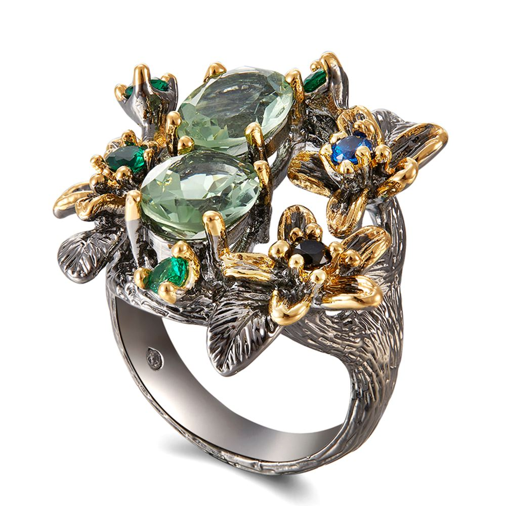 DreamCarnival 1989 Stunning CZ Rings for Women Engagement Party Vintage Flower Ring Eye Catching Olivine Zircon Jewelry WA11688 7