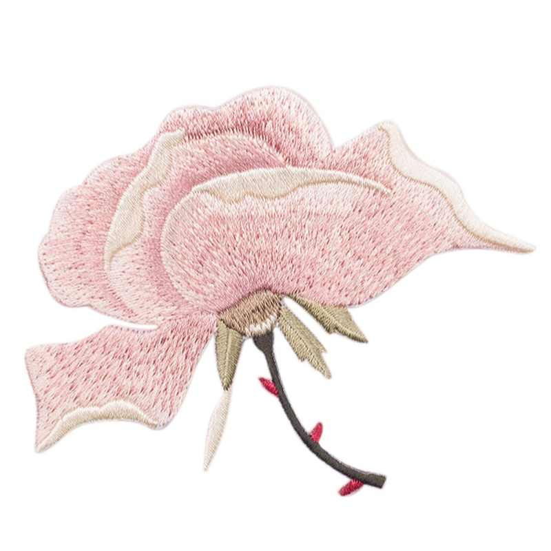 Pink Chinese Rose Applique Embroidery Flower Patches For Clothing Iron On Stickers For Clothes Decorations Sewing Patch