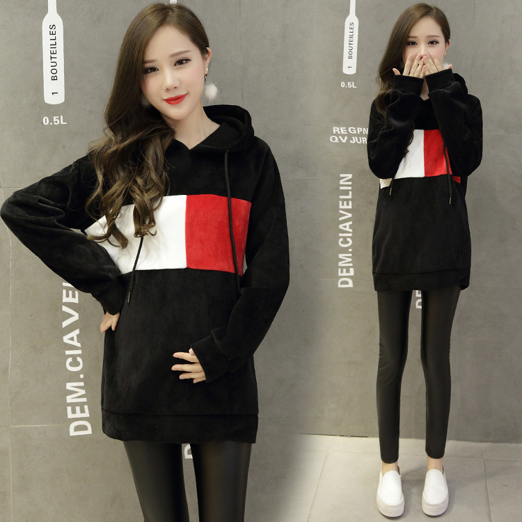 Fashion Warm Korea Style Maternity Flannelette Autumn Winter Wear for Maternity Women and Pregnance Casual Maternity Hoodies