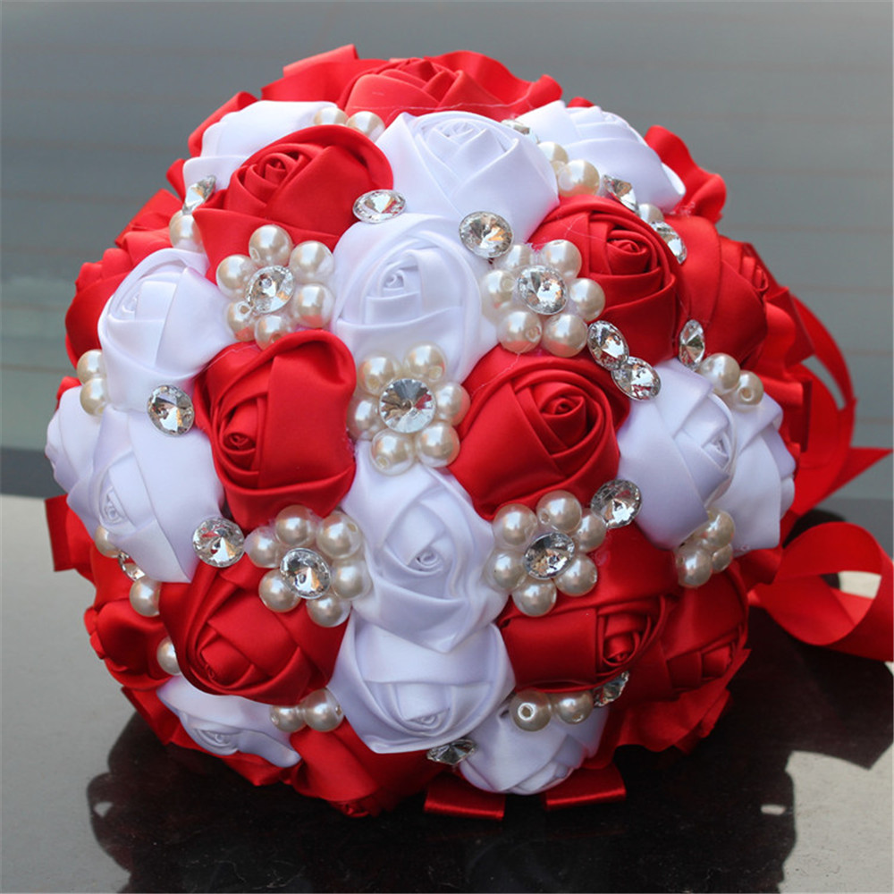 Private bouquet handmade red and white flowers bridal wedding pearl private bouquet handmade red and white flowers bridal wedding pearl rhinestone flower bouquet w274 in artificial dried flowers from home garden on mightylinksfo