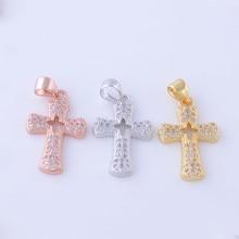 Micro pave com aaa cz oco flor encantos pingente de cruz para as mulheres cadeia colar de jóias pingentes acessório chf312