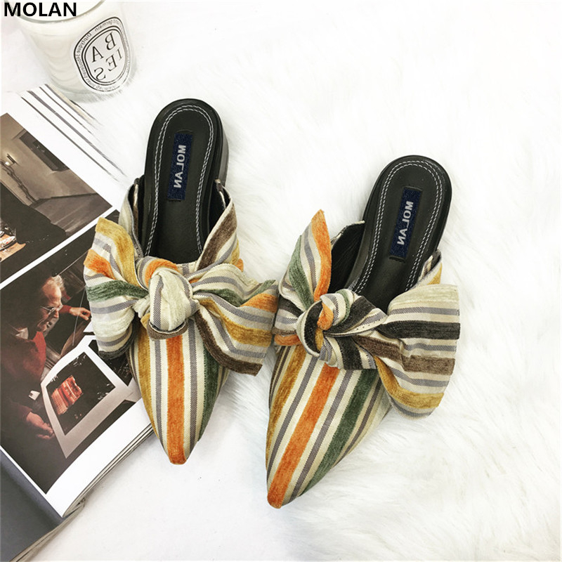 MOLAN Brand 2018 Spring Sweet Big Butterfly Colorful Slippers Woman Shoes Slip On Lady Slides Loafers Mules Flip Flops Casual suojialun brand 2018 autumn women luxury mules slippers pointed toe half slippers slip on loafers mules flip flops