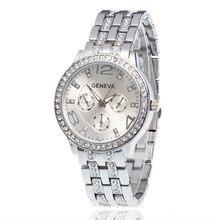 relogio feminino Hot New Luxury Brand Geneva Silver Men Watch Women Fashion Crys