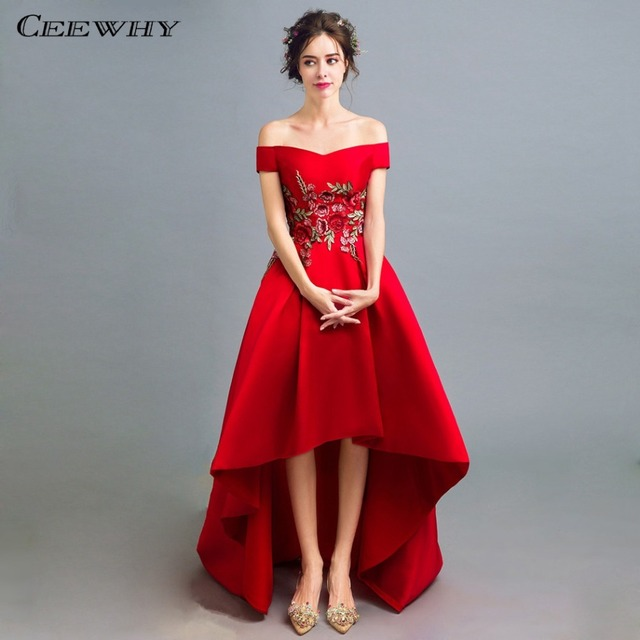 CEEWHY Boat Neck High-Low Evening Gown Floral Embroidered Prom Dress Formal  Evening Dresses Long Vestidos de Noche Abendkleider a1349bc96706