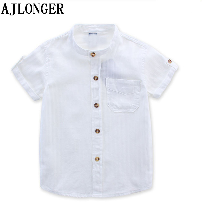 Ajlonger camisa casual bebê crianças menino algodão manga curta blusa para o verão crianças meninos camisas brancas
