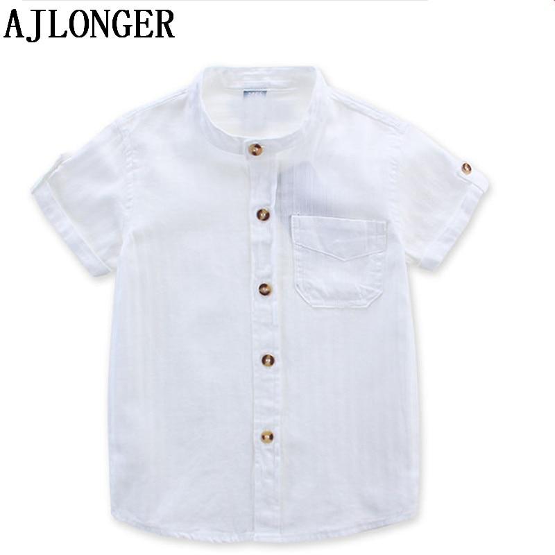 5a74197b71c AJLONGER 2018 Casual Shirt Baby Children Boy Cotton Short Sleeve Blouse For Summer  Kids Boys White Shirts