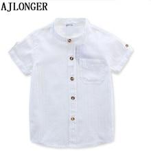 AJLONGER  Casual Shirt Baby Children Boy Cotton Short Sleeve Blouse For Summer Kids Boys White Shirts