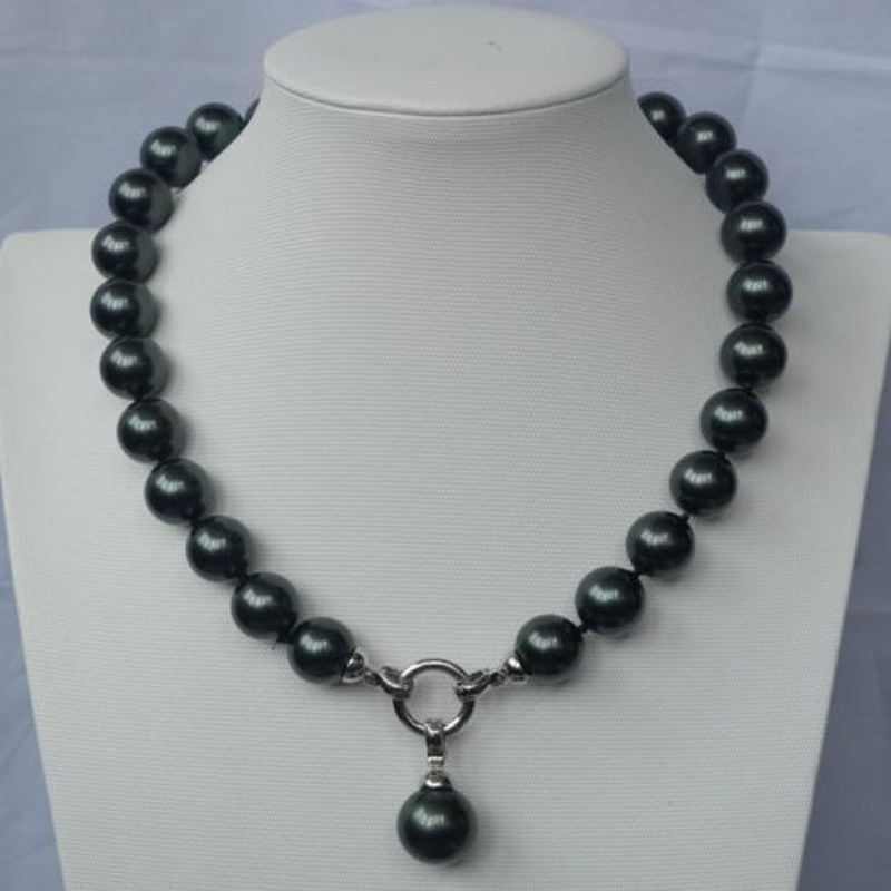 New 14mm Black Sea shell pearl necklace image