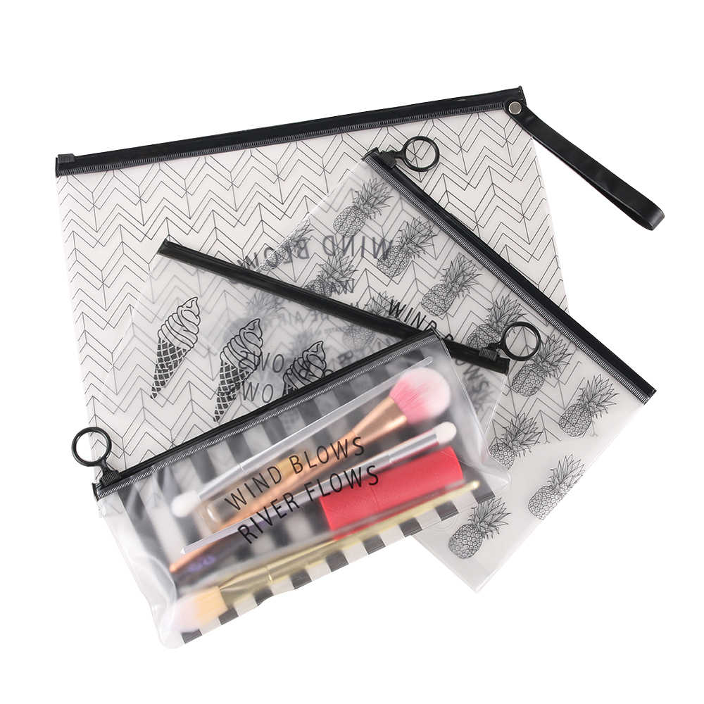 Tropical กระเป๋าเครื่องสำอางค์โปร่งใสชุดว่ายน้ำชุดแต่งหน้าแปรงกระเป๋า Organizer ที่จำเป็นกรณี Make Up กล่อง