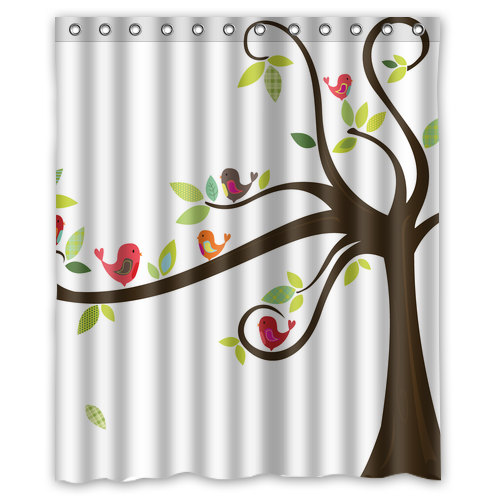 Cute Cartoon Birds On The Tree Customize Create Waterproof Shower Curtain Bathroom Products Curtains 48x72 60x72 66x 72 Inches In From