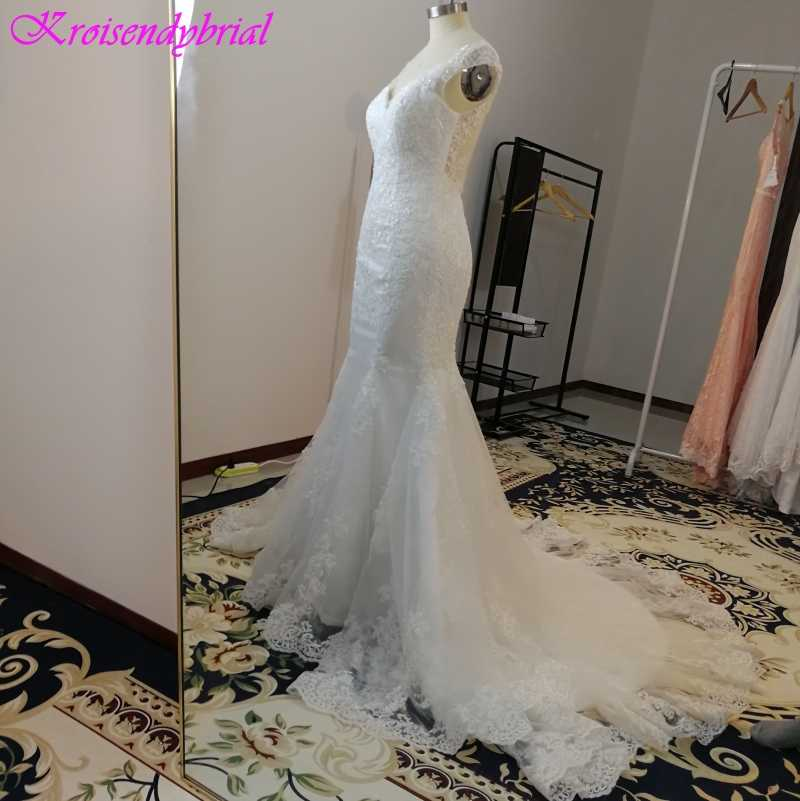 Qfs033 vestidos de noiva personalizado v pescoço bainha sereia vestidos de casamento robe de mariage vestido bonito vestidos de noiva 2019