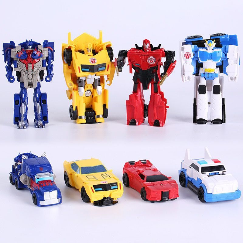 6 Pcs / Lot Baby Toy Cars Children Model Mini Car Inertia Toy Vehicles Transformation Robot Figure Roll Anti-Slip