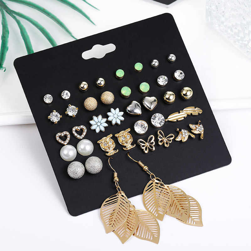 20 Pairs/pack Punk Mixed Leaf Butterfly Heart Owl Stud Earrings Set For Women Fashion Kolczyki 2019 Crystal Jewelry Pusheen Aros