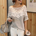 New Crochet Lace Hollow Out Women's T Shirt Slash Neck Tassels Batwing Sleeve Summer Tops Clothing Camisa Femininas Vestidos T77