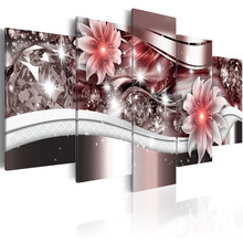 5 Pieces Canvas Painting Exquisite diamond background beautiful Red flowers Paintings Modern Wall Pictures  Framed PJMT- (6)