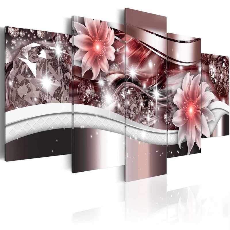 5 Sztuk Płótno Malowanie Wykwintne diament tło piękne Czerwone kwiaty Malarstwo Nowoczesne Obrazy Ścienne Oprawione PJMT-(6)