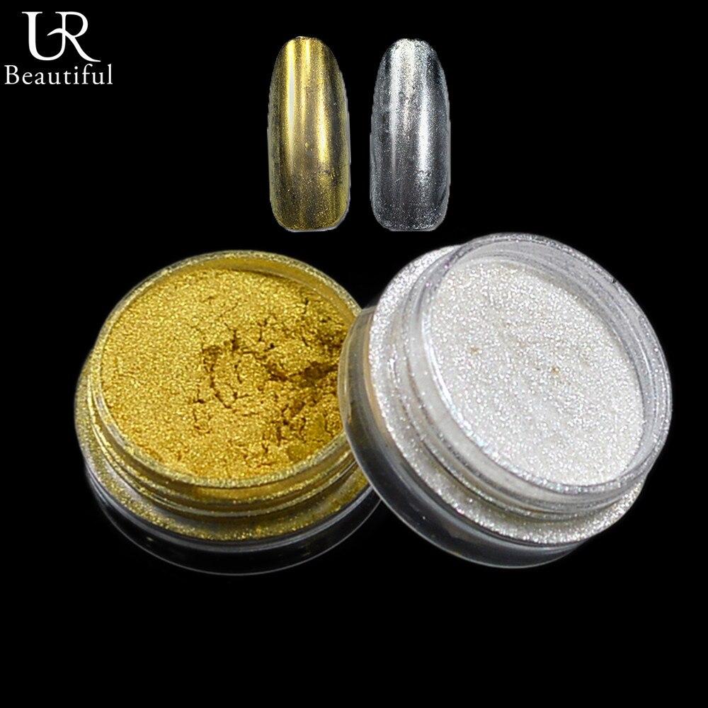 1 Flasche Goldene/silber Glänzende Spiegel Nail Art Glitter Pulver Magie Pigment Staub Chrome Metallic Wirkung Nagel Dekorationen Werden #02 #04 Delikatessen Von Allen Geliebt