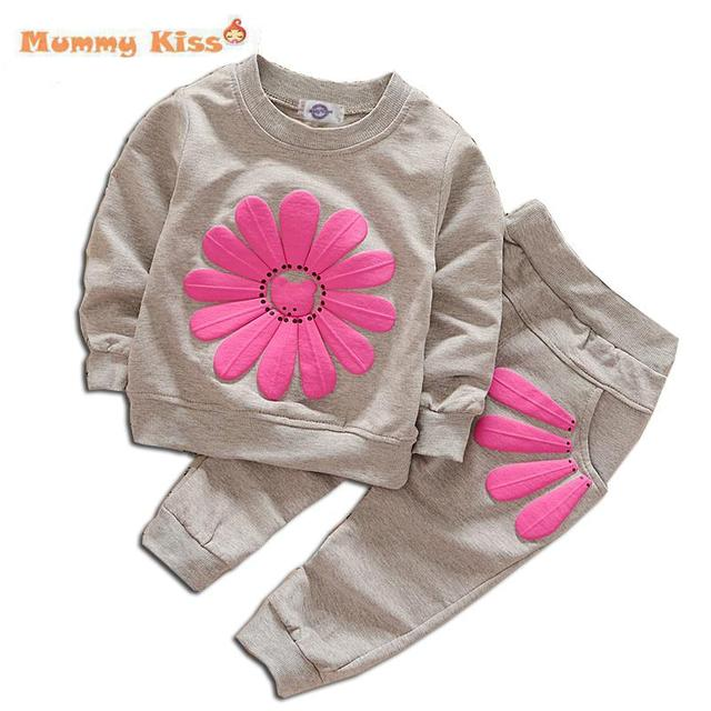 9M-3Y Sport Girls Clothes 2016 Flower Sweatshirt+Pants Tracksuit Autumn Children Kids Girls Sets Casual Baby Girls Clothes C50