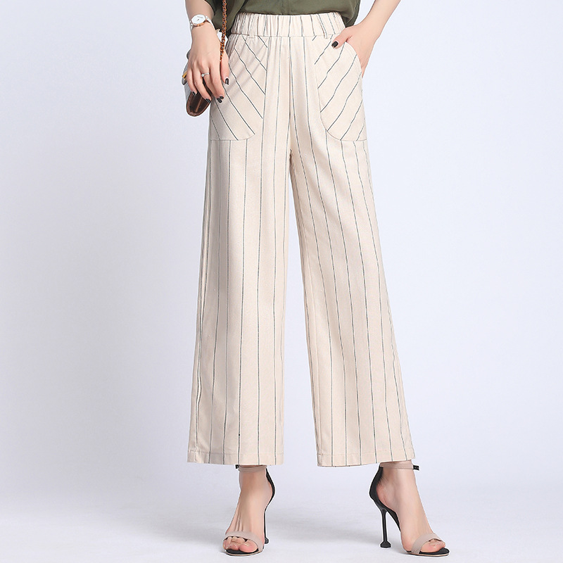 Woman Plus Size   Wide     Leg     Pants   2019 Korean Style Spring High Waist Cotton Linen Striped Casual   Pants   Elegant Office Lady   Pants