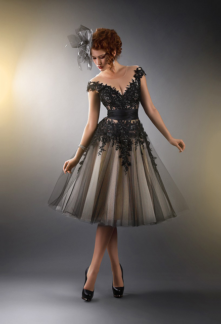 champagne and blach formal knee length dresses