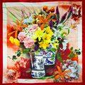 100% Шелковый Шарф Площади Шарф Женщин Цветы в Вазах Шейный Платок малый Шелковый Шарф 2017 Топ Женский Бандана Подарок для леди