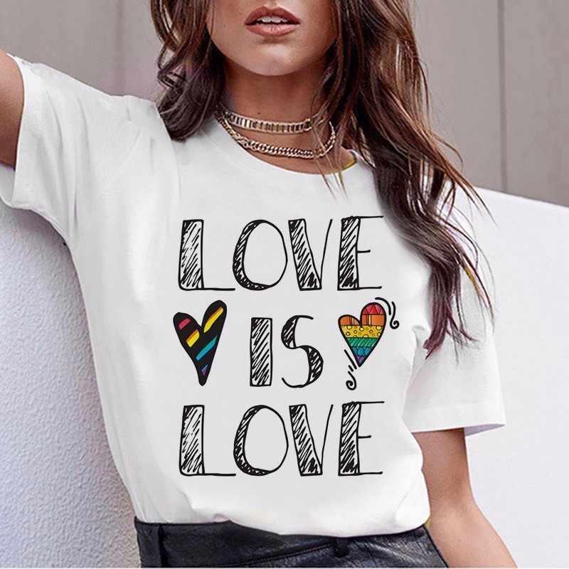LGBT T 셔츠 여성용 New Gay Pride Tshirt 여성 러브 레즈비언 레인보우 T 셔츠 Love Is Love T 셔츠 여름 하라주쿠 탑 티