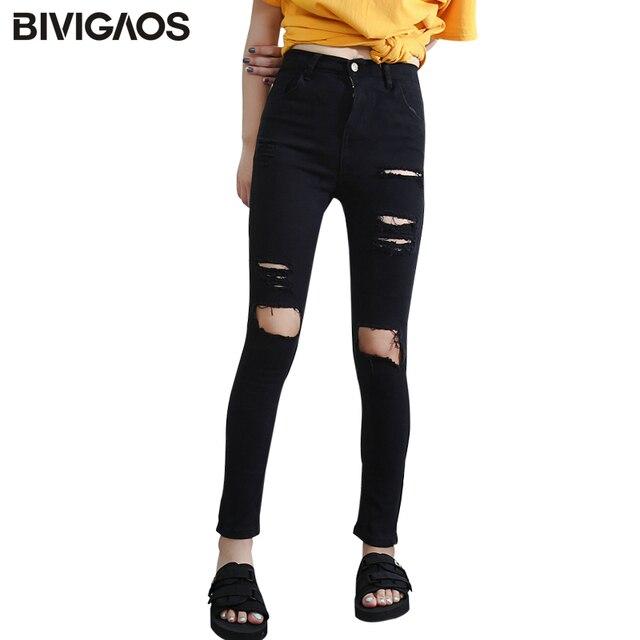 10e4e9e7 US $11.84 37% OFF|BIVIGAOS moda kobiety wysoka talia podarte dżinsy na co  dzień dziura kolana Skinny Denim ołówek spodnie czarne dżinsy zgrywanie ...