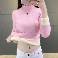High quality Elegance Thick Warm Women Pullover Sweater Fashion Knitted With Velvets Jumper Top Rib Female Turtleneck Sweater