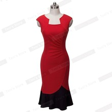 Nice-forever New Mermaid Dress Gather Elegant  sleeveless Women Sheath Contrast color Pencil Bodycon Female Formal Dress b289